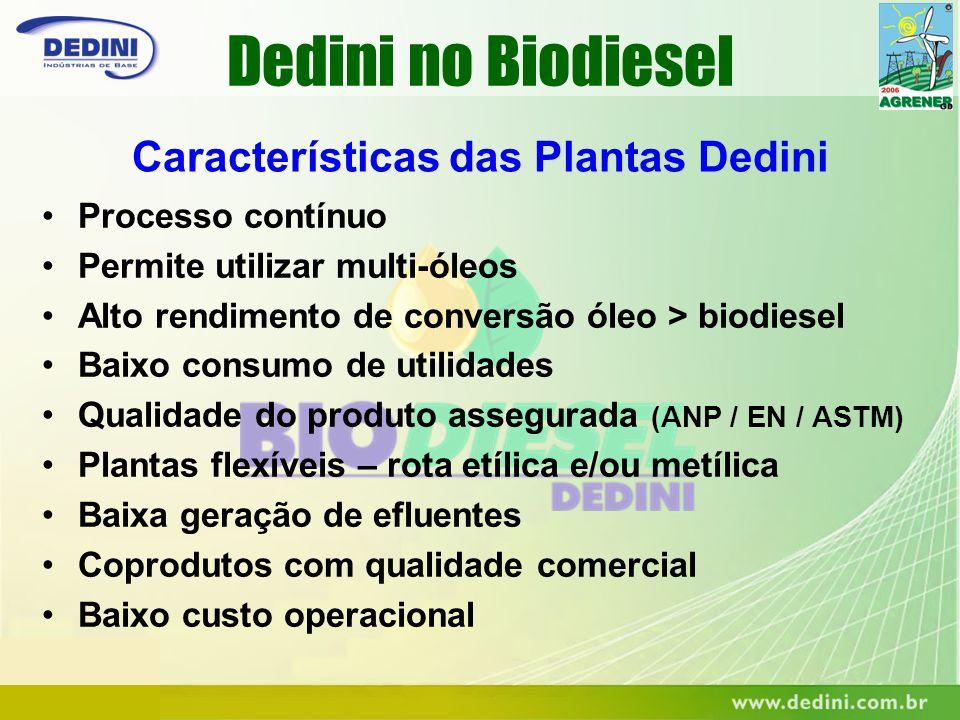 Características das Plantas Dedini Processo contínuo Permite utilizar multi-óleos Alto rendimento de conversão óleo > biodiesel Baixo consumo de utili