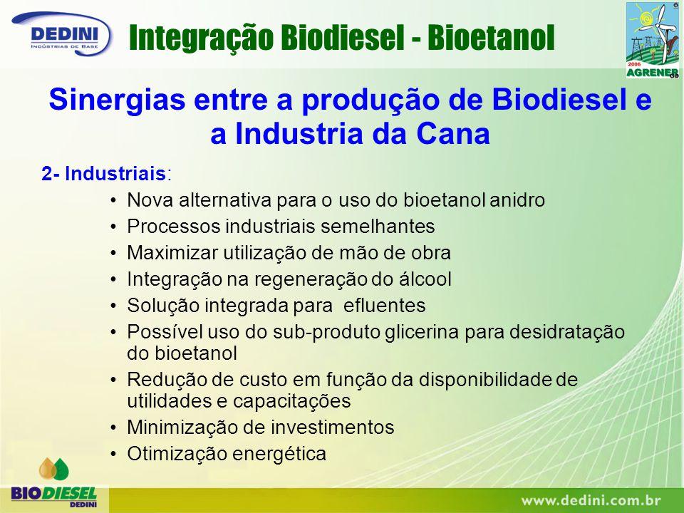 2- Industriais: Nova alternativa para o uso do bioetanol anidro Processos industriais semelhantes Maximizar utilização de mão de obra Integração na re