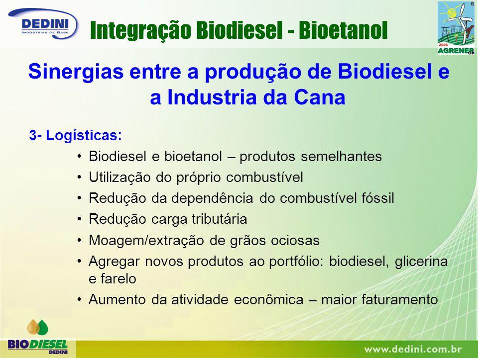 3- Logísticas: Biodiesel e bioetanol – produtos semelhantes Utilização do próprio combustível Redução da dependência do combustível fóssil Redução car