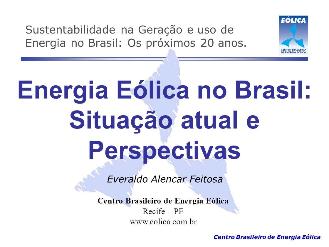 Centro Brasileiro de Energia Eólica Energia Eólica no Brasil: Situação atual e Perspectivas Centro Brasileiro de Energia Eólica Recife – PE www.eolica