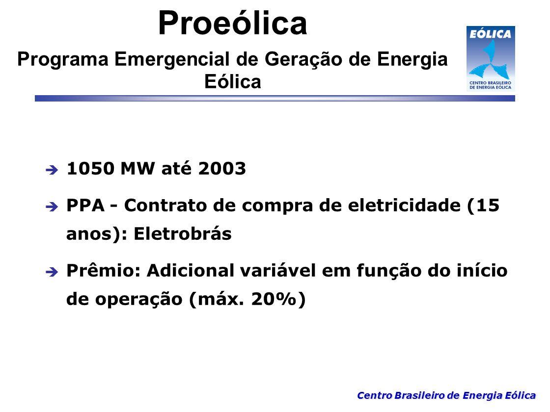 Centro Brasileiro de Energia Eólica Proeólica Programa Emergencial de Geração de Energia Eólica  1050 MW até 2003  PPA - Contrato de compra de eletr