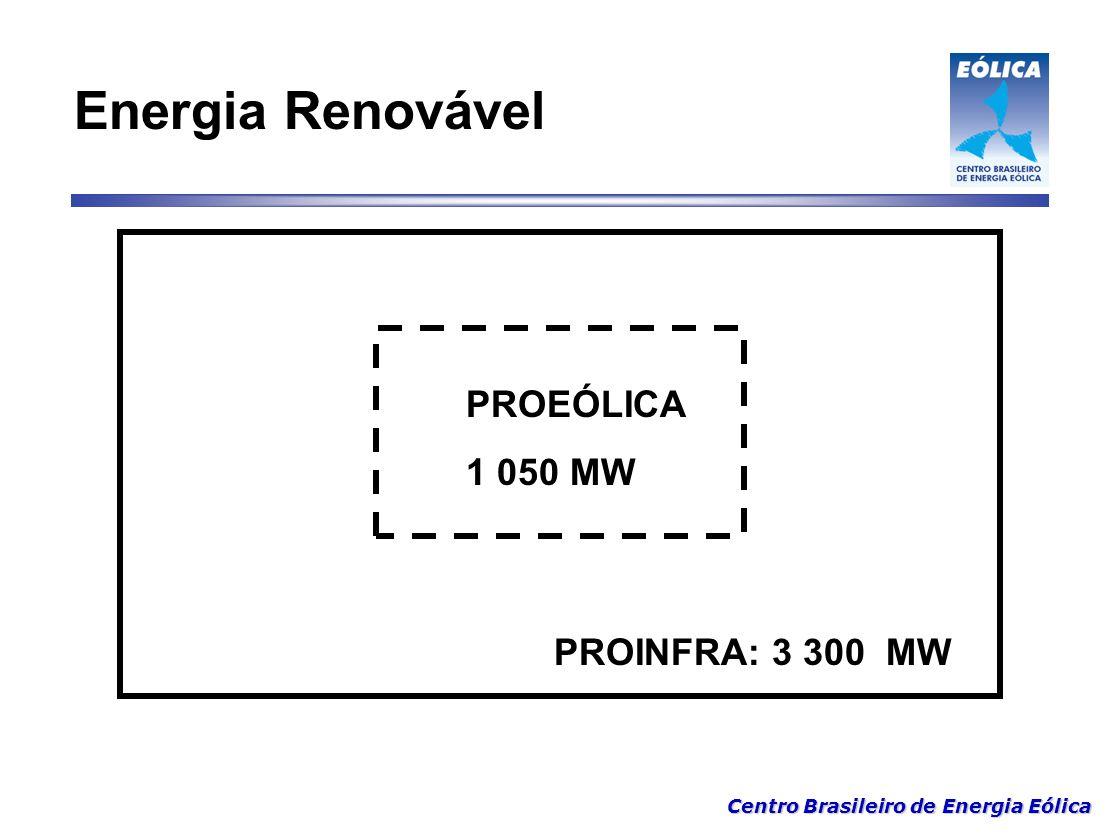 Centro Brasileiro de Energia Eólica PROEÓLICA 1 050 MW PROINFRA: 3 300 MW Energia Renovável