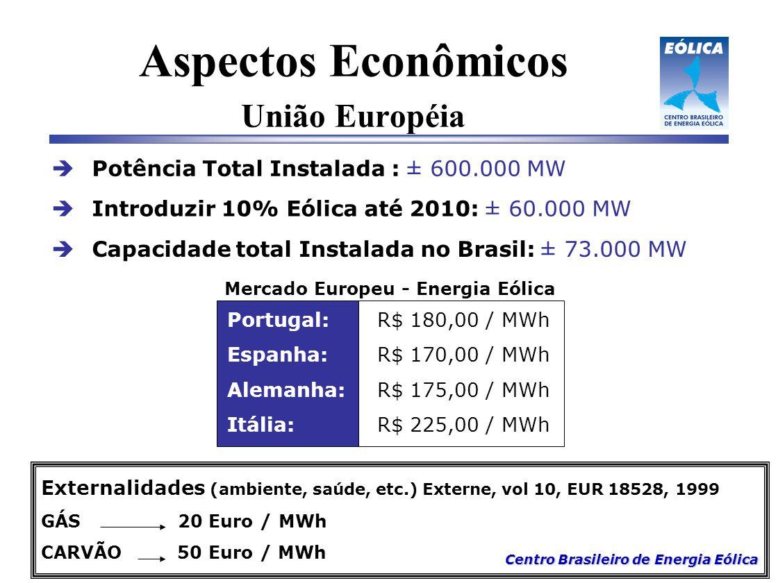 Centro Brasileiro de Energia Eólica  Potência Total Instalada : ± 600.000 MW  Introduzir 10% Eólica até 2010: ± 60.000 MW  Capacidade total Instala