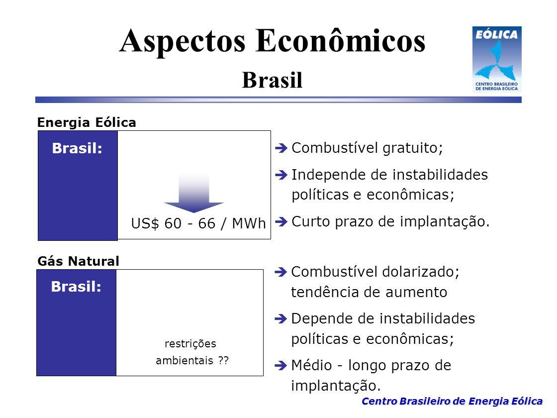 Centro Brasileiro de Energia Eólica  Combustível gratuito;  Independe de instabilidades políticas e econômicas;  Curto prazo de implantação. Energi