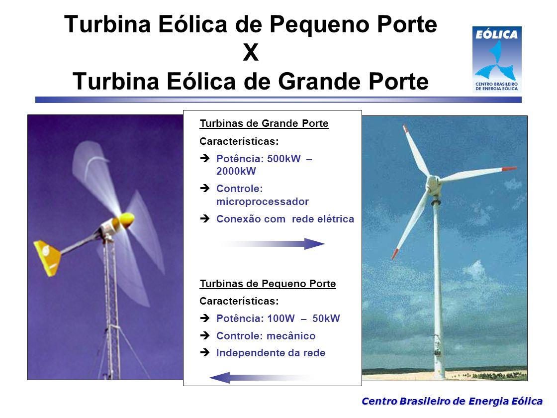 Centro Brasileiro de Energia Eólica Turbinas de Grande Porte Características:  Potência: 500kW – 2000kW  Controle: microprocessador  Conexão com re