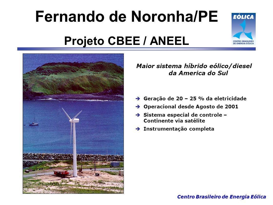Centro Brasileiro de Energia Eólica Maior sistema híbrido eólico/diesel da America do Sul  Geração de 20 – 25 % da eletricidade  Operacional desde A