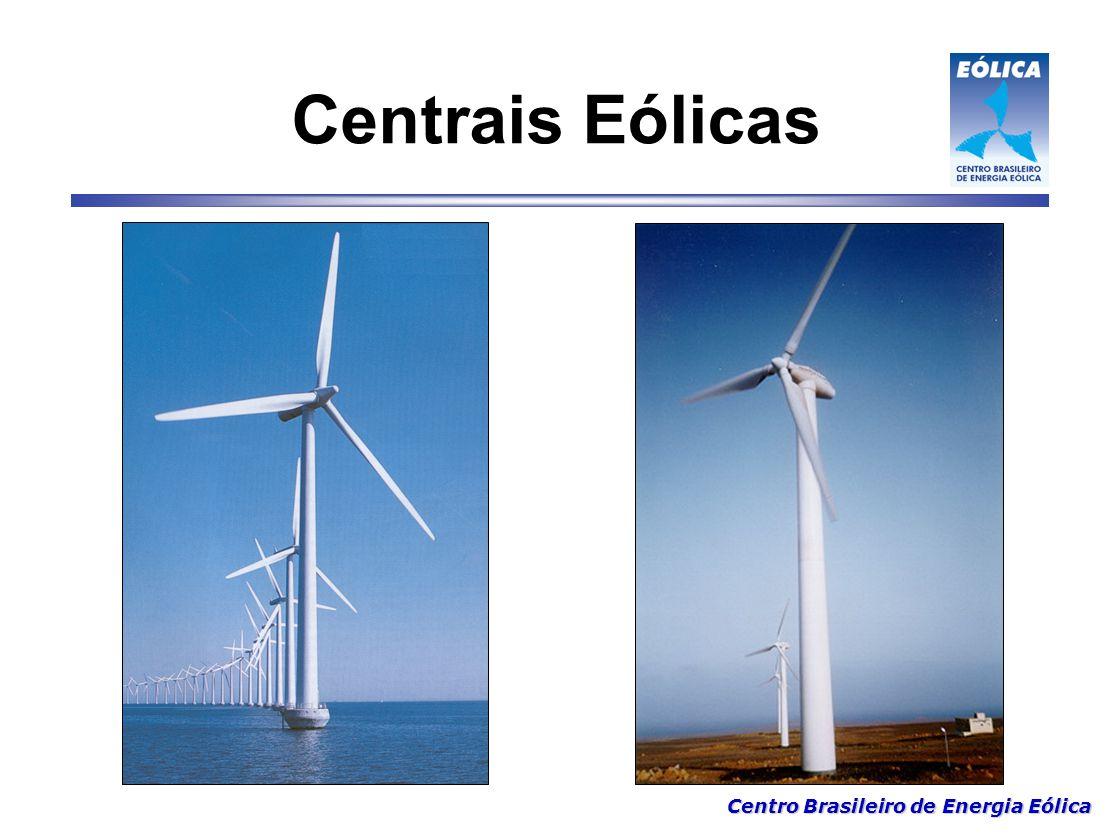 Centro Brasileiro de Energia Eólica Maior sistema híbrido eólico/diesel da America do Sul Características:  Torre: tubular de 30m de altura  Rotor: fibra de vidro/poliester, 27m diametro  Controle de potência: ângulo de passo (pitch)  Geradores: 225kW/50kW assíncrono Fernando de Noronha/PE Projeto CBEE / ANEEL