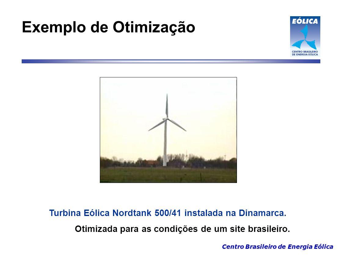 Centro Brasileiro de Energia Eólica Exemplo de Otimização Turbina Eólica Nordtank 500/41 instalada na Dinamarca. Otimizada para as condições de um sit