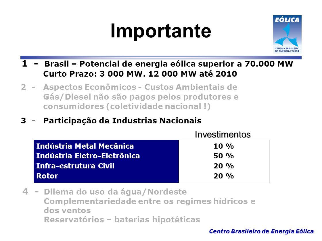 Centro Brasileiro de Energia Eólica Importante 1 - Brasil – Potencial de energia eólica superior a 70.000 MW Curto Prazo: 3 000 MW. 12 000 MW até 2010