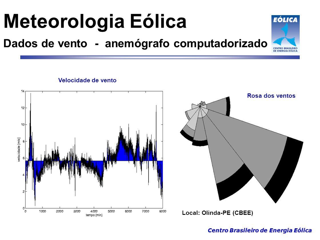 Centro Brasileiro de Energia Eólica Características aerodinâmicas Corte transversal de uma pá  = ângulo de incidência (rotor)  = ângulo de ataque (perfil)  = ângulo de passo (local pitch/ global pitch) Perfil LM22 a (ótimo) = Máximo C L / C D Plano de rotação