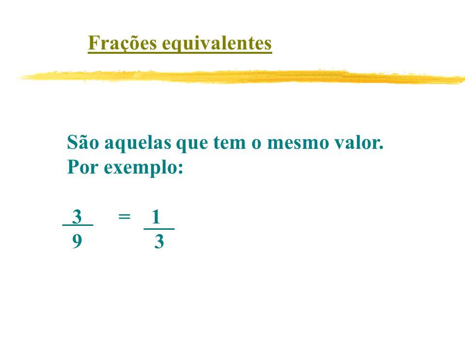 Frações equivalentes São aquelas que tem o mesmo valor. Por exemplo: 3 = 1 9 3