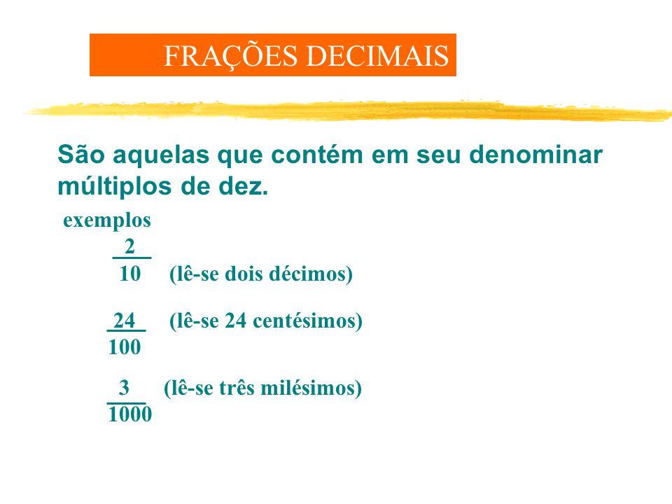 FRAÇÕES DECIMAIS São aquelas que contém em seu denominar múltiplos de dez.