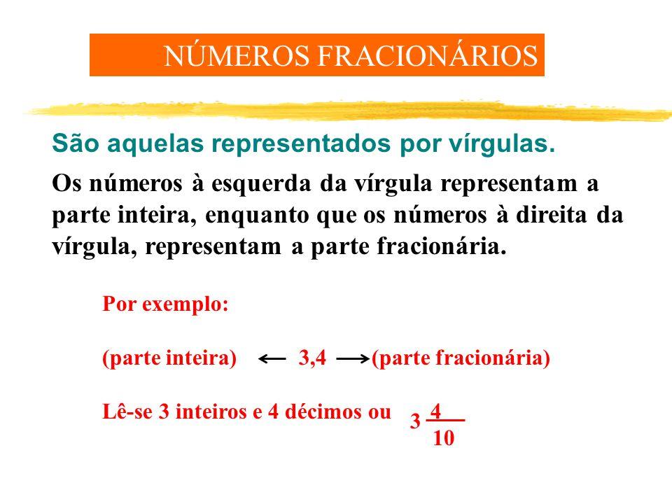 Os números à esquerda da vírgula representam a parte inteira, enquanto que os números à direita da vírgula, representam a parte fracionária.