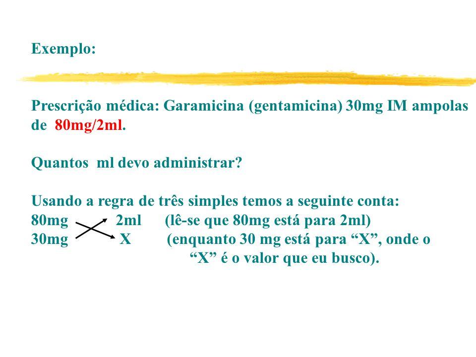 Exemplo: Prescrição médica: Garamicina (gentamicina) 30mg IM ampolas de 80mg/2ml.