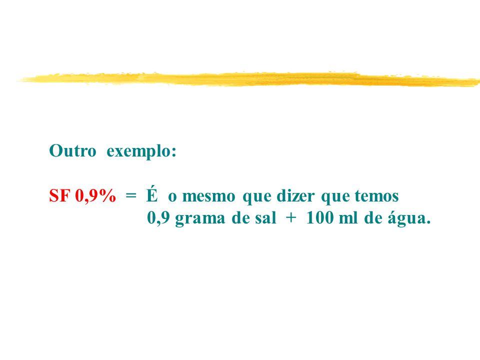 Outro exemplo: SF 0,9% = É o mesmo que dizer que temos 0,9 grama de sal + 100 ml de água.