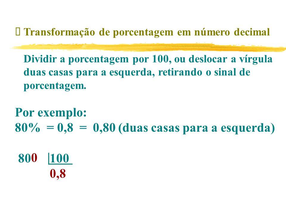  Transformação de porcentagem em número decimal Dividir a porcentagem por 100, ou deslocar a vírgula duas casas para a esquerda, retirando o sinal de porcentagem.