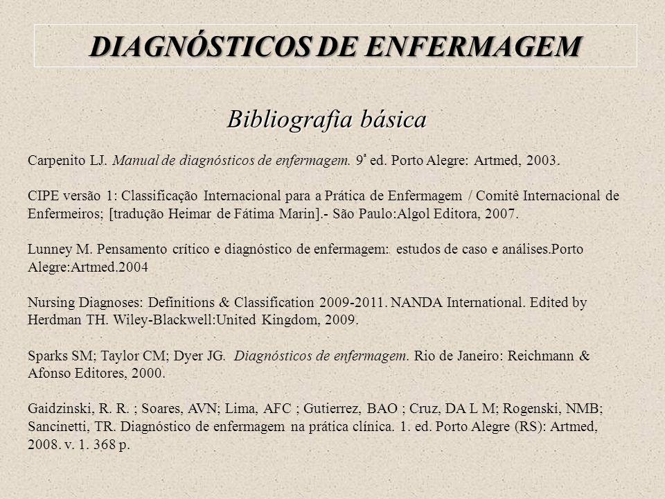 Bibliografia básica Carpenito LJ. Manual de diagnósticos de enfermagem. 9 ª ed. Porto Alegre: Artmed, 2003. CIPE versão 1: Classificação Internacional