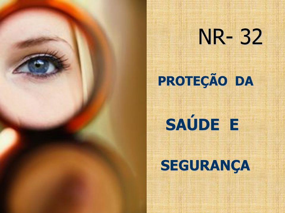 NR NR- 32 PROTEÇÃO DA PROTEÇÃO DA SAÚDE E SAÚDE E E SEGURANÇA SEGURANÇA E SEGURANÇA SEGURANÇA SEGURANÇA SEGURANÇA AGORA É LE AGORA É LE