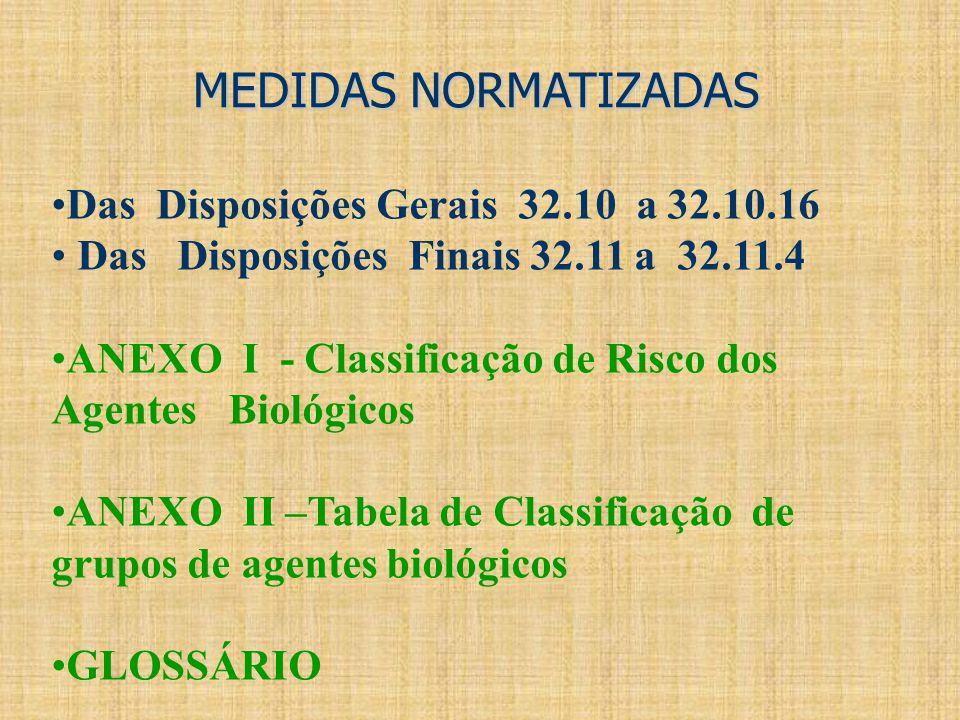 MEDIDAS NORMATIZADAS Das Disposições Gerais 32.10 a 32.10.16 Das Disposições Finais 32.11 a 32.11.4 ANEXO I - Classificação de Risco dos Agentes Bioló