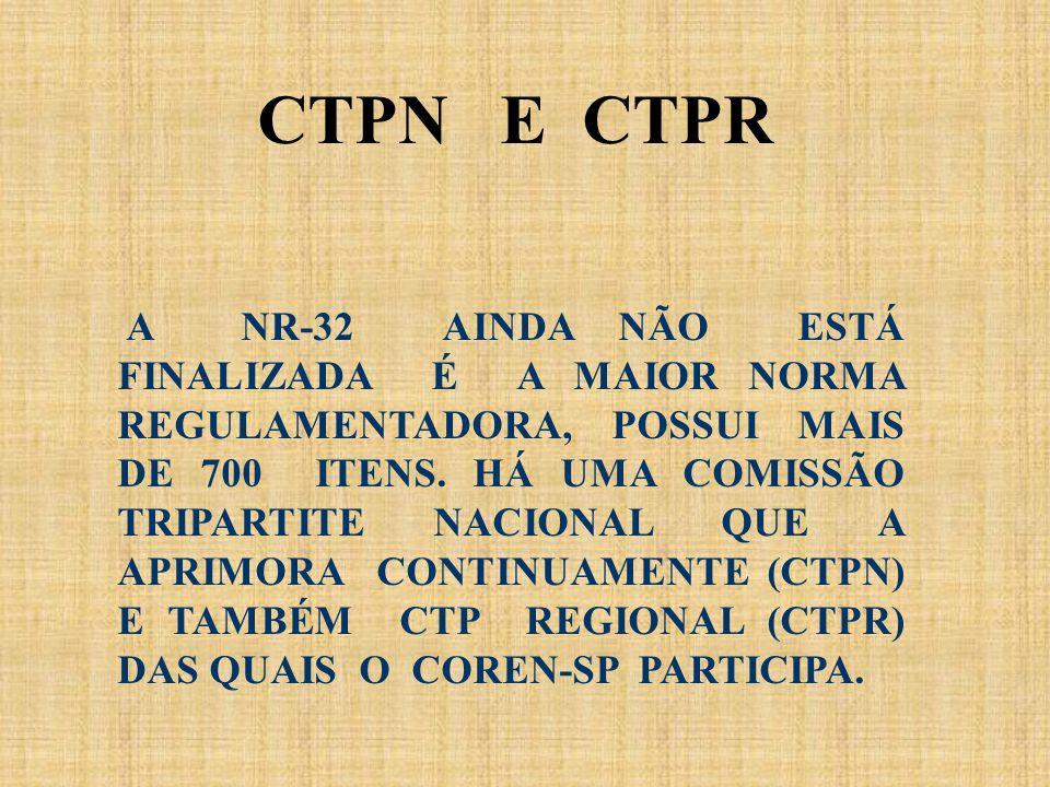 A NR-32 AINDA NÃO ESTÁ FINALIZADA É A MAIOR NORMA REGULAMENTADORA, POSSUI MAIS DE 700 ITENS. HÁ UMA COMISSÃO TRIPARTITE NACIONAL QUE A APRIMORA CONTIN