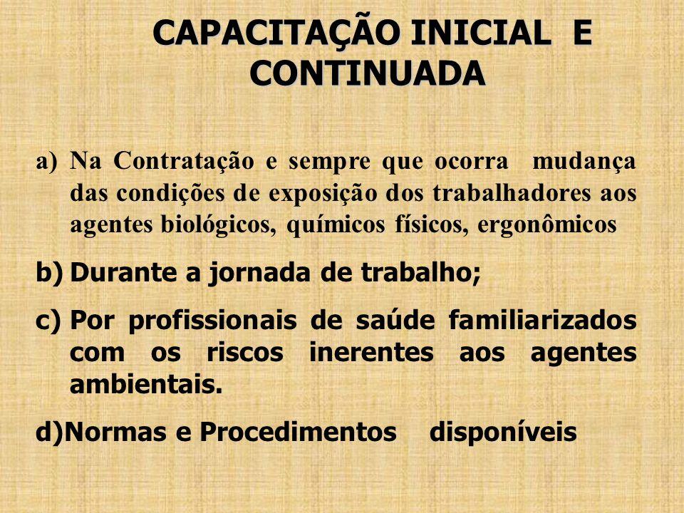 CAPACITAÇÃO INICIAL E CONTINUADA CAPACITAÇÃO INICIAL E CONTINUADA a)Na Contratação e sempre que ocorra mudança das condições de exposição dos trabalha