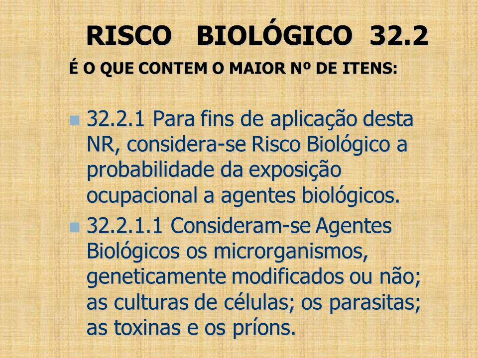 RISCO BIOLÓGICO 32.2 É O QUE CONTEM O MAIOR Nº DE ITENS: 32.2.1 Para fins de aplicação desta NR, considera-se Risco Biológico a probabilidade da expos