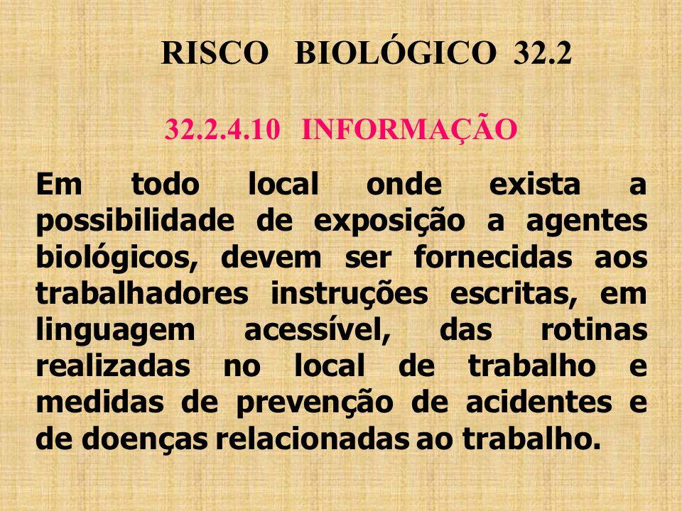 RISCO BIOLÓGICO 32.2 32.2.4.10 INFORMAÇÃO Em todo local onde exista a possibilidade de exposição a agentes biológicos, devem ser fornecidas aos trabal