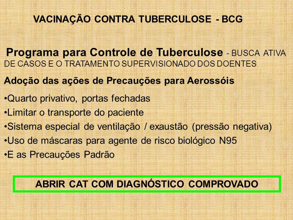 VACINAÇÃO CONTRA TUBERCULOSE - BCG Programa para Controle de Tuberculose - BUSCA ATIVA DE CASOS E O TRATAMENTO SUPERVISIONADO DOS DOENTES. Adoção das