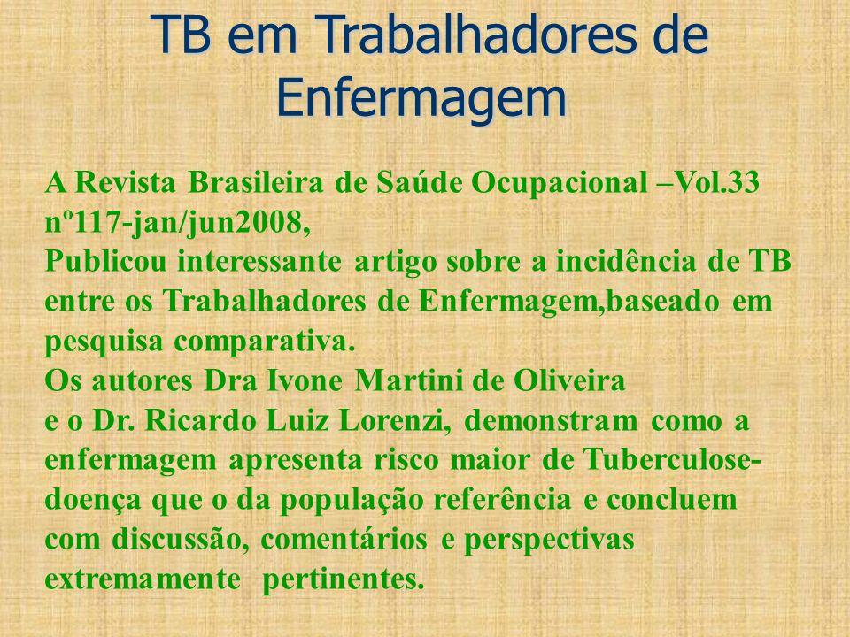 TB em Trabalhadores de Enfermagem TB em Trabalhadores de Enfermagem A Revista Brasileira de Saúde Ocupacional –Vol.33 nº117-jan/jun2008, Publicou inte