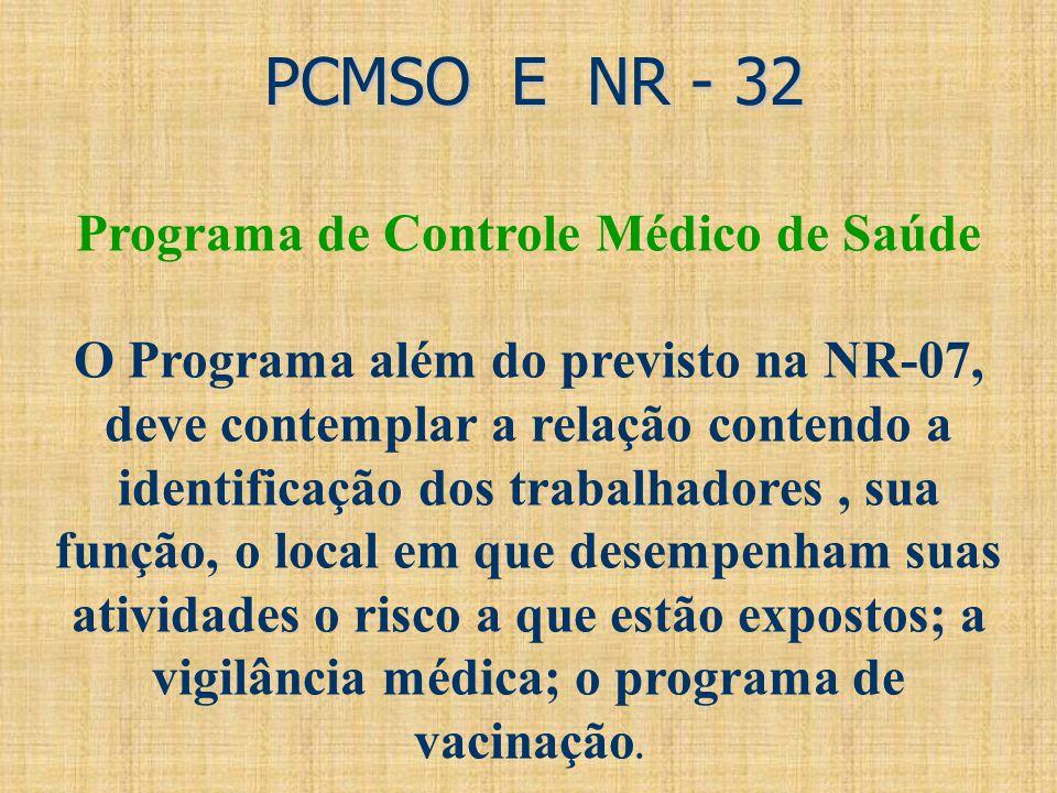 PCMSO E NR - 32 PCMSO E NR - 32 Programa de Controle Médico de Saúde O Programa além do previsto na NR-07, deve contemplar a relação contendo a identi