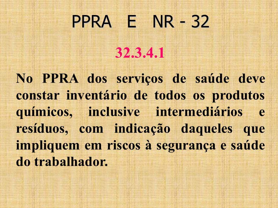 PPRA E NR - 32 PPRA E NR - 32 32.3.4.1 No PPRA dos serviços de saúde deve constar inventário de todos os produtos químicos, inclusive intermediários e