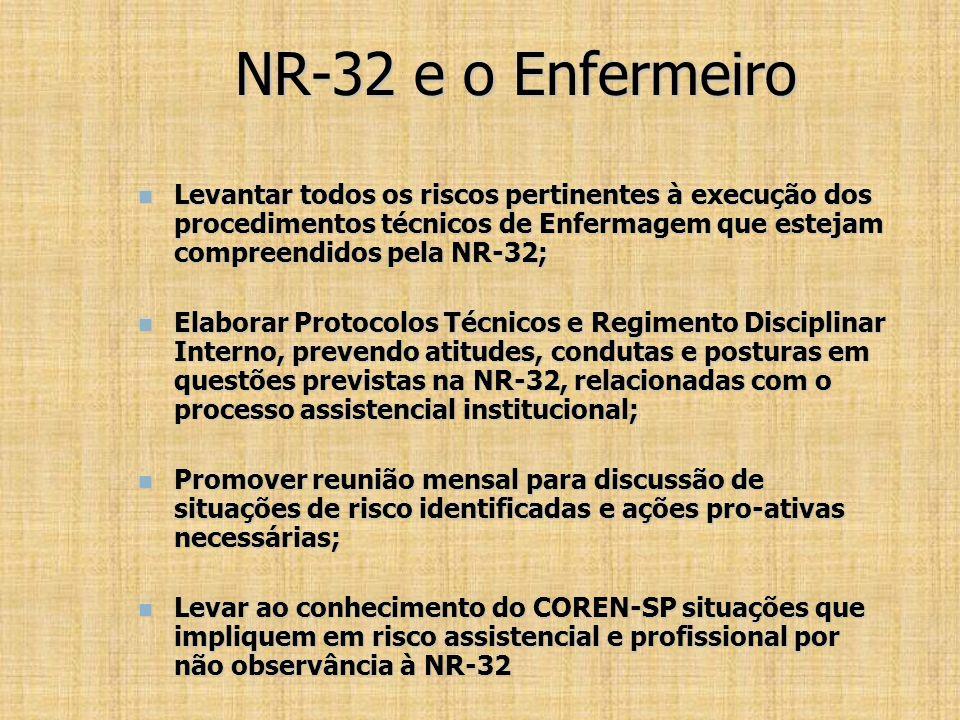 NR-32 e o Enfermeiro Levantar todos os riscos pertinentes à execução dos procedimentos técnicos de Enfermagem que estejam compreendidos pela NR-32; Le
