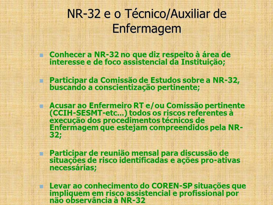 NR-32 e o Técnico/Auxiliar de Enfermagem Conhecer a NR-32 no que diz respeito à área de interesse e de foco assistencial da Instituição; Conhecer a NR