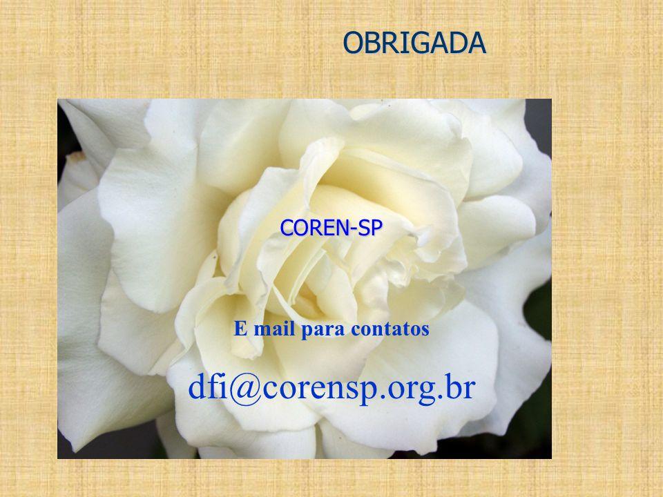 OBRIGADA COREN-SP E mail para contatos dfi@corensp.org.br