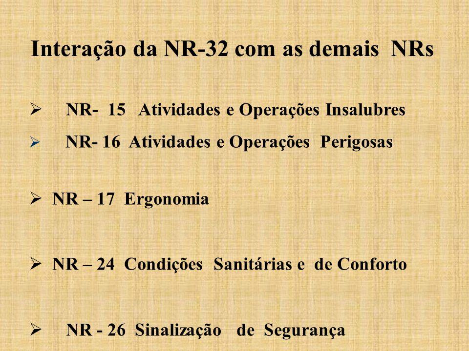  NR- 15 Atividades e Operações Insalubres  NR- 16 Atividades e Operações Perigosas  NR – 17 Ergonomia  NR – 24 Condições Sanitárias e de Conforto