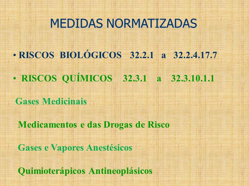 MEDIDAS NORMATIZADAS RISCOS BIOLÓGICOS 32.2.1 a 32.2.4.17.7 RISCOS QUÍMICOS 32.3.1 a 32.3.10.1.1 Gases Medicinais Medicamentos e das Drogas de Risco G