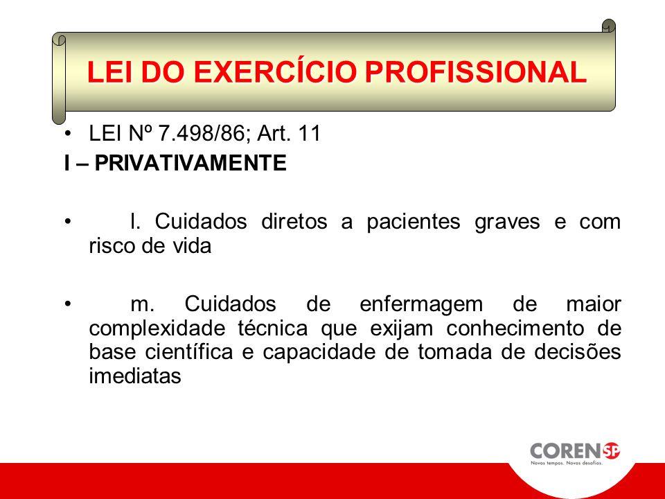 LEI Nº 7.498/86; Art. 11 I – PRIVATIVAMENTE c. planejamento, organização, coordenação, execução e avaliação dos serviços de assistência de enfermagem;
