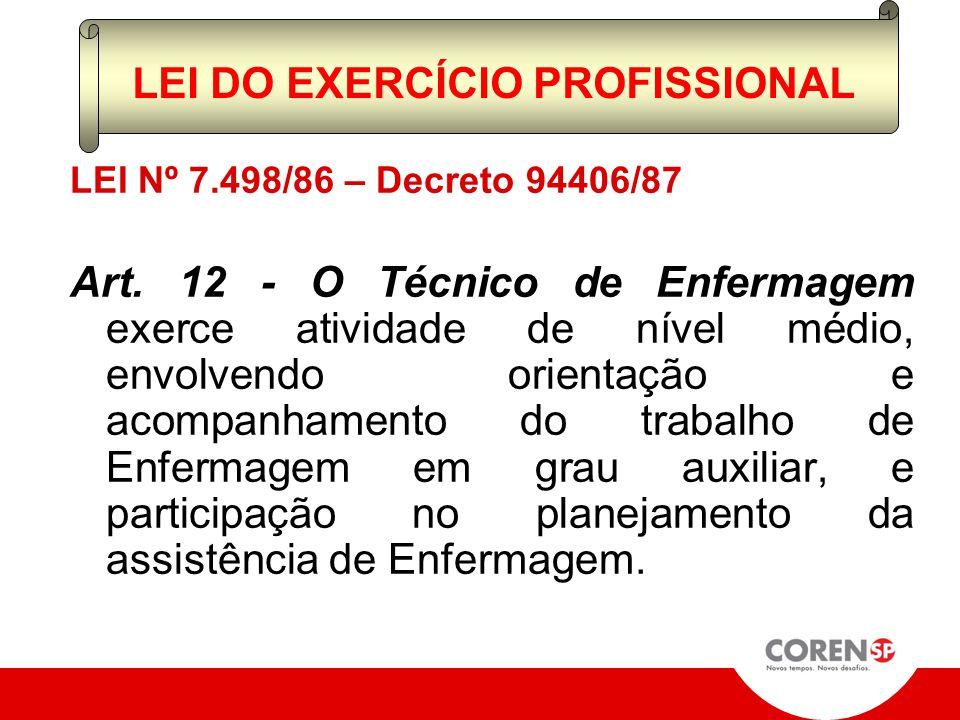 LEI Nº 7.498/86; Art. 11 I – PRIVATIVAMENTE l. Cuidados diretos a pacientes graves e com risco de vida m. Cuidados de enfermagem de maior complexidade