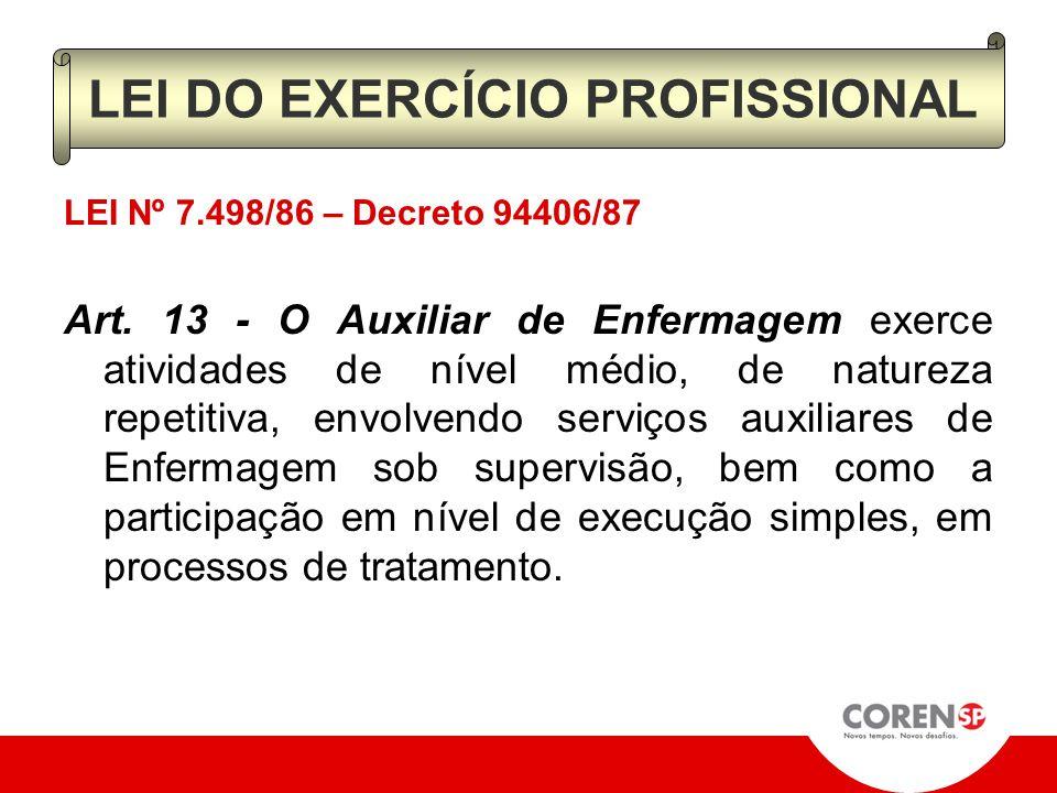 LEI Nº 7.498/86 – Decreto 94406/87 Art. 12 - O Técnico de Enfermagem exerce atividade de nível médio, envolvendo orientação e acompanhamento do trabal