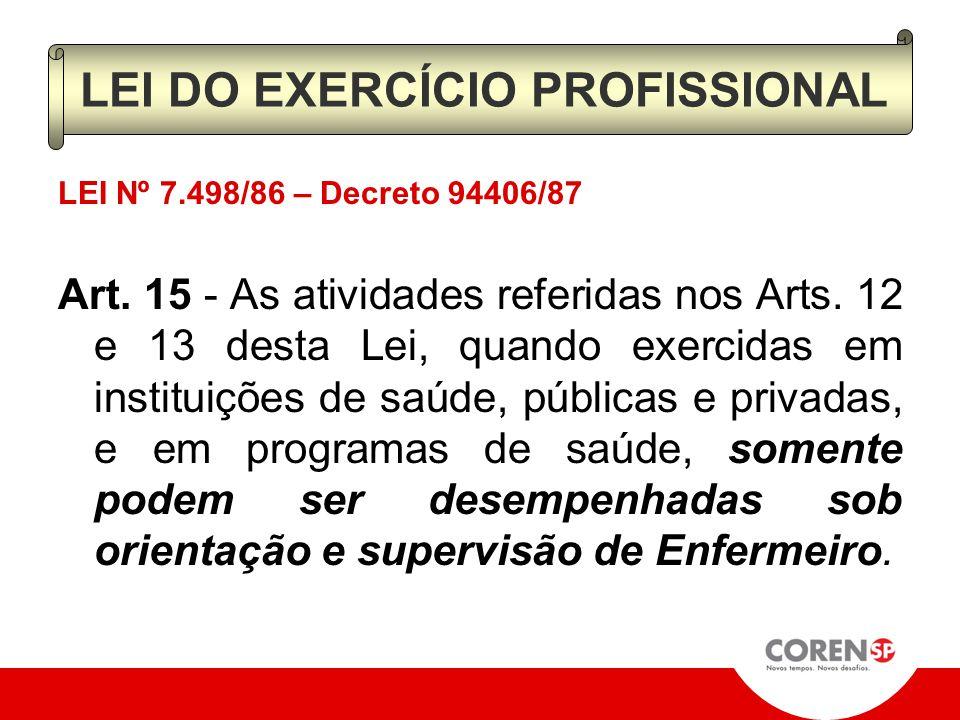 LEI Nº 7.498/86 – Decreto 94406/87 Art. 13 - O Auxiliar de Enfermagem exerce atividades de nível médio, de natureza repetitiva, envolvendo serviços au