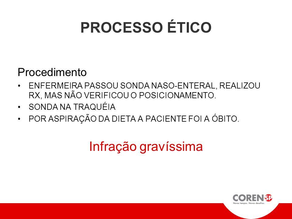 PROCESSO ÉTICO Procedimento ENFERMEIRA PASSOU SONDA NASO-ENTERAL, REALIZOU RX, MAS NÃO VERIFICOU O POSICIONAMENTO.