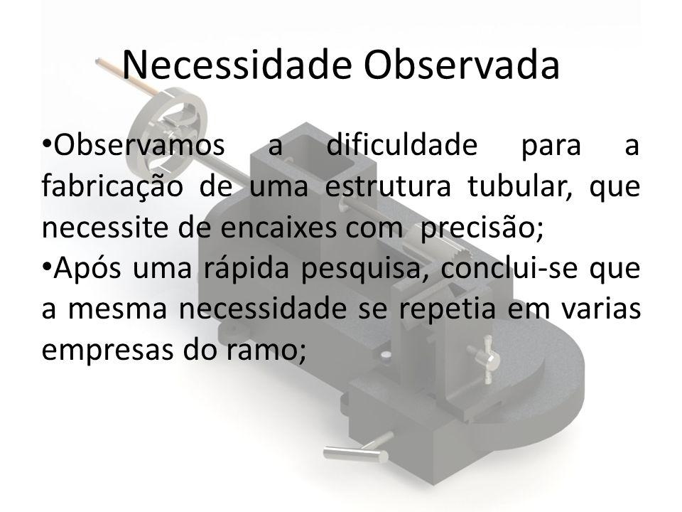 Necessidade Observada Observamos a dificuldade para a fabricação de uma estrutura tubular, que necessite de encaixes com precisão; Após uma rápida pes