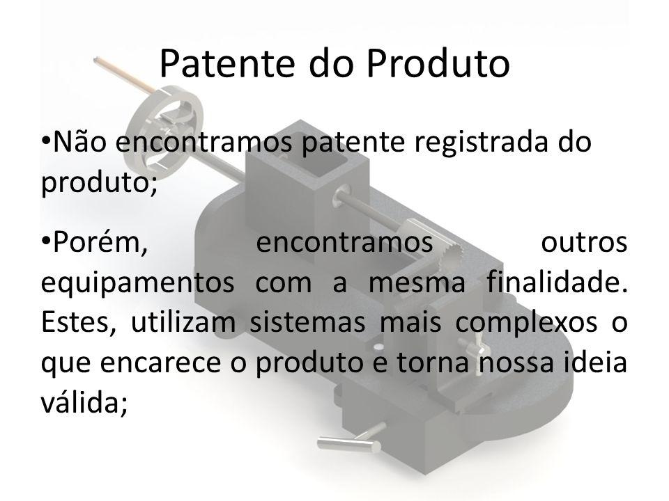 Patente do Produto Não encontramos patente registrada do produto; Porém, encontramos outros equipamentos com a mesma finalidade. Estes, utilizam siste