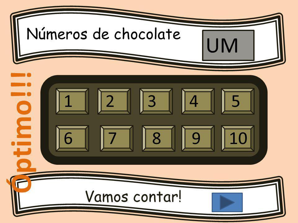 Números de chocolate Vamos contar! 12345 679810 UM Óptimo!!!