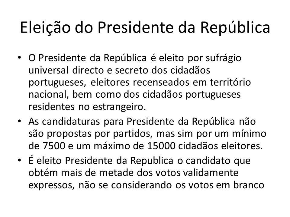 Eleição do Presidente da República O Presidente da República é eleito por sufrágio universal directo e secreto dos cidadãos portugueses, eleitores rec