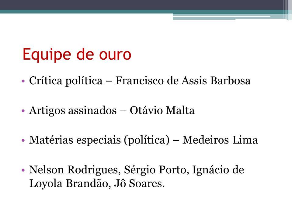 Equipe de ouro Crítica política – Francisco de Assis Barbosa Artigos assinados – Otávio Malta Matérias especiais (política) – Medeiros Lima Nelson Rod