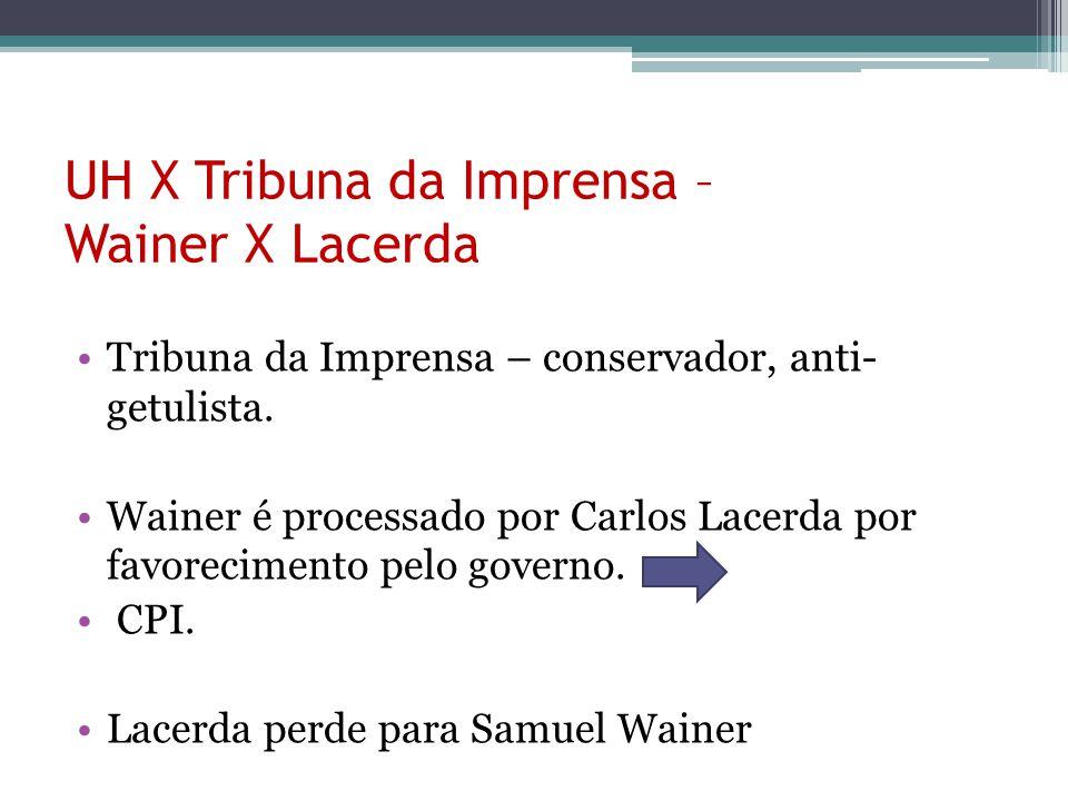 UH X Tribuna da Imprensa – Wainer X Lacerda Tribuna da Imprensa – conservador, anti- getulista. Wainer é processado por Carlos Lacerda por favorecimen