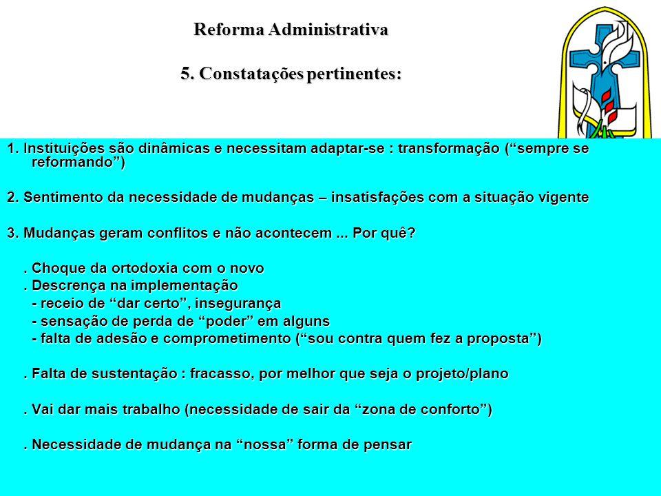 """Reforma Administrativa 5. Constatações pertinentes: 1. Instituições são dinâmicas e necessitam adaptar-se : transformação (""""sempre se reformando"""") 2."""