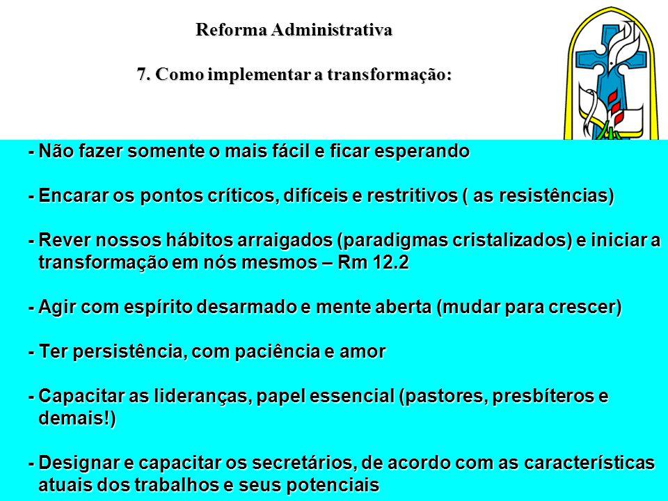 Reforma Administrativa 7. Como implementar a transformação: - Não fazer somente o mais fácil e ficar esperando - Não fazer somente o mais fácil e fica