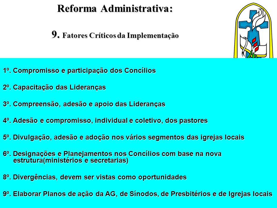 Reforma Administrativa: 9. Fatores Críticos da Implementação 1º. Compromisso e participação dos Concílios 2º. Capacitação das Lideranças 3º. Compreens